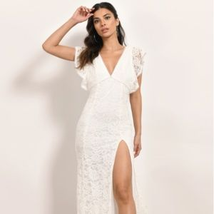 Deep V - Slit lace maxi dress